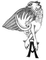 The tattoo in all its glory. A creature with elegantly crossed front legs, paws with rather long claws, a wing covering where most of its body should be, and its blunt-nosed head turned back to look along the wing. The overall style is highly decorated with numerous curls and flourishes.
